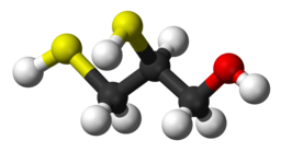 Skeletal formula and ball and stick model of dimercaprol Molecule